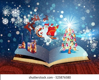 Opened magic book with decorated christmas tree, houses, snowflakes.