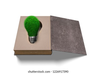 Opened old book with green grass bulb inside, isolated on white background, 3D illustration.