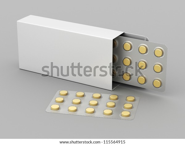 opened package of pills on an empty gray background for design