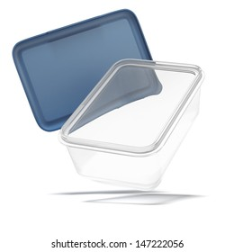 Opened plastic transparent food container