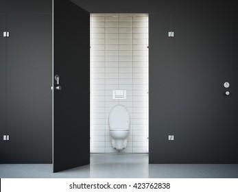 Opened Public Toilet Cubicle With Black Door 3d Rendering