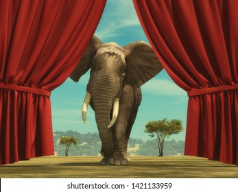 Opened red curtain shows an elephant entering the stage. This is a 3d render illustration