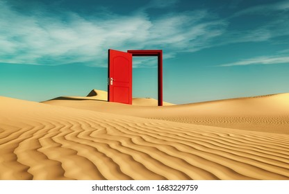Opened red door in the desert . This is a 3d render illustration