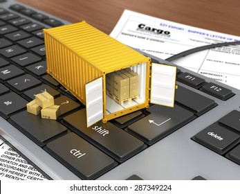 Opened ship container with boxes on the keyboard. Concept of delivering, shipping or logistics.
