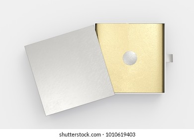 Opened silver drawer sliding box with gift wrap foil on white background. Include clipping path around box. 3d illustration