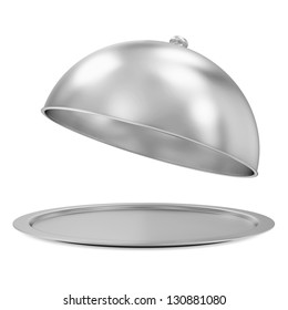 Opened Silver Tray isolated on white background