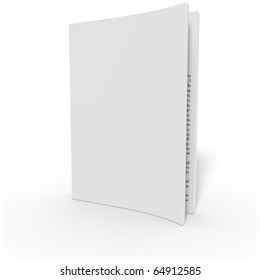 Opened soft cover book on white background