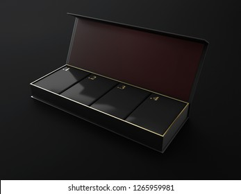 Opened Square Black Boxes Mockup with four square box in and golden numbers 3d Illustration