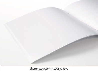 Opened Square Magazine with blank pages isolated on white. 3d illustration for your presentation.