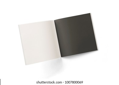 Opened square magazine or brochure with black and white pages isolated on white. 3d Illustration for your presentation.