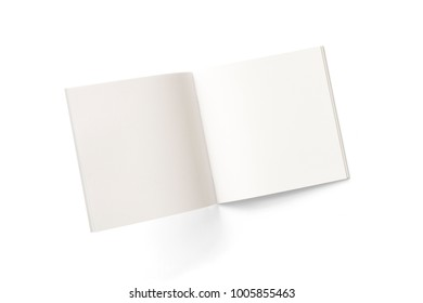 Opened square magazine or brochure with blank pages isolated on white. 3d Illustration for your presentation.