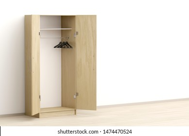 Opened wardrobe with empty hangers in the room, 3D illustration