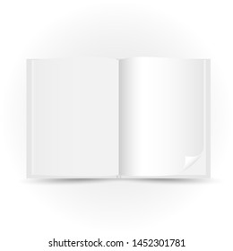 Opened white book template with shadow on white background. Read open magazine