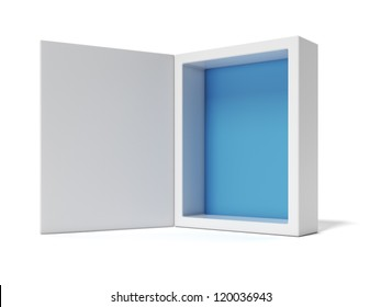 Opened white Box with blue inside