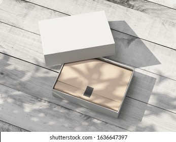 Opened white carton Gift Box Mockup with kraft wrapping paper on the wooden table outdoor. 3d rendering