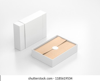 Opened White Gift Box Mockup with cover and kraft wrapping paper and round label, 3d rendering