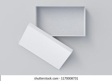 Opened white shoe box container on white background. Packaging mockup. 3d illustration
