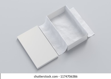 Opened white shoe box container on white background with wrapping paper. Packaging mockup. 3d illustration