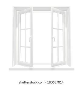 Opened window. Isolated on white background