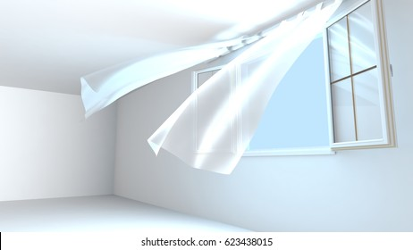 Opened windows, the pure air enters the room. Wind raises curtains . 3D Rendering