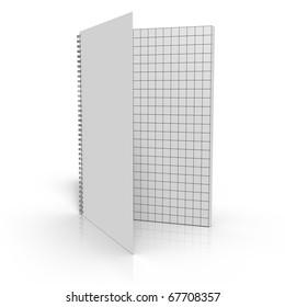 Opened wireframe notation binder on white background
