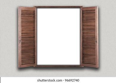 Opened wooden window. illustration