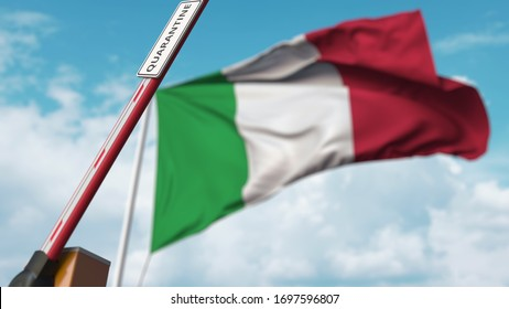 Opening boom barrier with QUARANTINE sign against the Italian flag. Unrestricted entry in Italy. 3D rendering