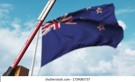 Opening boom barrier with QUARANTINE sign against the New zealand flag. Unrestricted entry in New zealand. 3D rendering