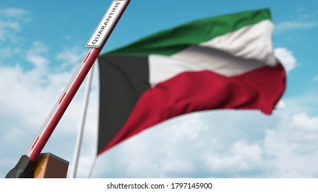Opening boom barrier with quarantine sign against the kuwaiti flag. unrestricted entry in kuwait.  3D rendering