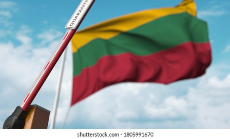 Opening boom barrier with quarantine sign against the lithuanian flag. unrestricted entry in lithuania.  3D rendering