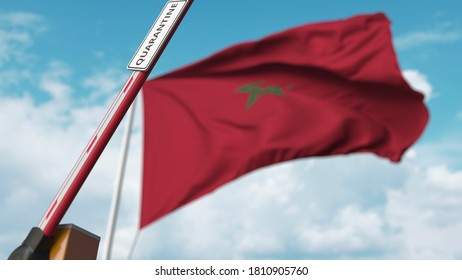 Opening boom barrier with quarantine sign against the moroccan flag. unrestricted entry in morocco.  3D rendering