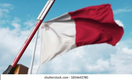 Opening boom barrier with quarantine sign against the maltese flag. unrestricted entry in malta.  3D rendering