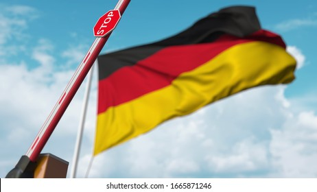 Opening boom barrier with stop sign against the German flag. Free entry or lifting a ban in Germany. 3D rendering
