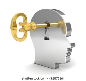 opening mind with a key concept   3d illustration