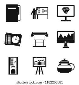 Operating regime icons set. Simple set of 9 operating regime icons for web isolated on white background