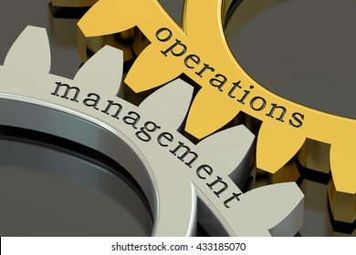 Operations Management concept on the gearwheels, 3D rendering
