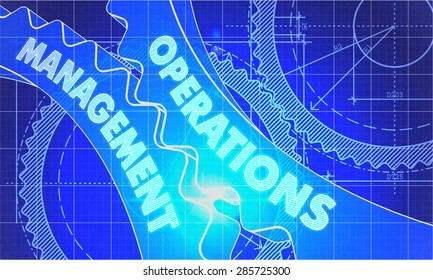 Operations Management on the Mechanism of Gears. Blueprint Style. Technical Design. 3d illustration, Lens Flare.