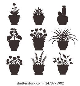 Ophiopogon collection silhouette colorless icons of flowers and pots plants in blossom flourish raster illustration isolated on white background