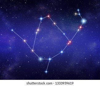 Ophiuchus and Serpens constellations merged together on a starry space background. Relative sizes and color shades of stars based on the spectral star type.