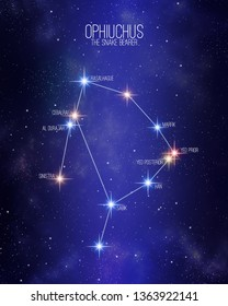 Ophiuchus the snake bearer zodiac constellation map on a starry space background with the names of its main stars. Stars relative sizes and color shades based on their spectral type.