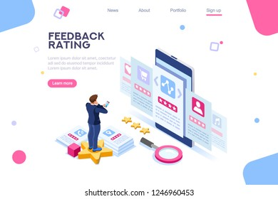 Opinion, user choice support to approve human rate. Measurement experience images. Vote and evaluation. Isolated status of business recommendation. Web recommend background, flat isometric