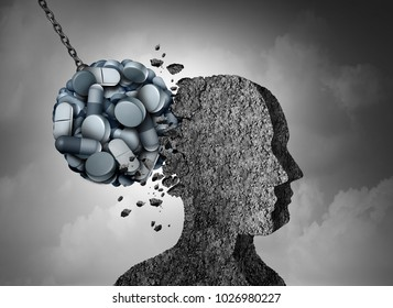 Opioid epidemic health danger and medical crisis with a prescription painkiller addiction concept as a group of pills devastating a patient with 3D illustration elements.