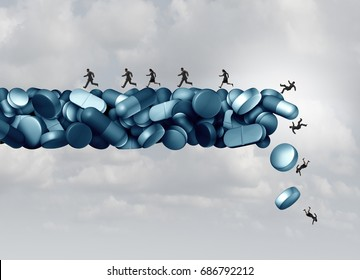 Opioid health risk and medical crisis with a prescription painkiller addiction epidemic concept as a group of people running away from a falling bridge of pills with 3D illustration elements.
