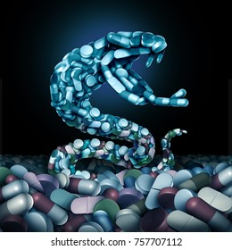 Opioids and opioid health risk and medical crisis with a prescription painkiller addiction epidemic concept as a group pills shaped as a snake with 3D illustration.