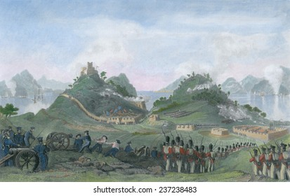 Opium War between Britain and China 1839- 1842 British forces attack Chinese Forts on Chuenpee Island.
