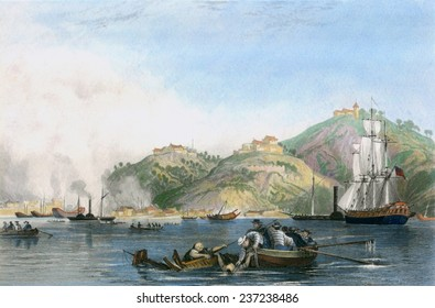Opium War between Britain and China 1839- 1842 Battle at Zhapu. 19th century print with paint and digital color.