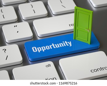 Opportunity key on the keyboard, 3d rendering,conceptual image.