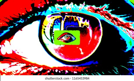 An optical art 3d illustration of a large human female eye with a dark pupil, colorful iris and bright red retina with a tiny one inside. The small eye grows bigger and shapes a psycho tunnel.