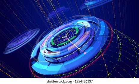 Optical art 3d illustration of several sparkling and multicolored rings imposed on each other and having several thin and lengthy arrows and serving as indicators of some device.