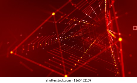 An optical art 3d illustration of a slanting rhombus form neon tube with sharp ends placed aslant in the purple background with stripes of linked and shimmering golden dots and lines.
